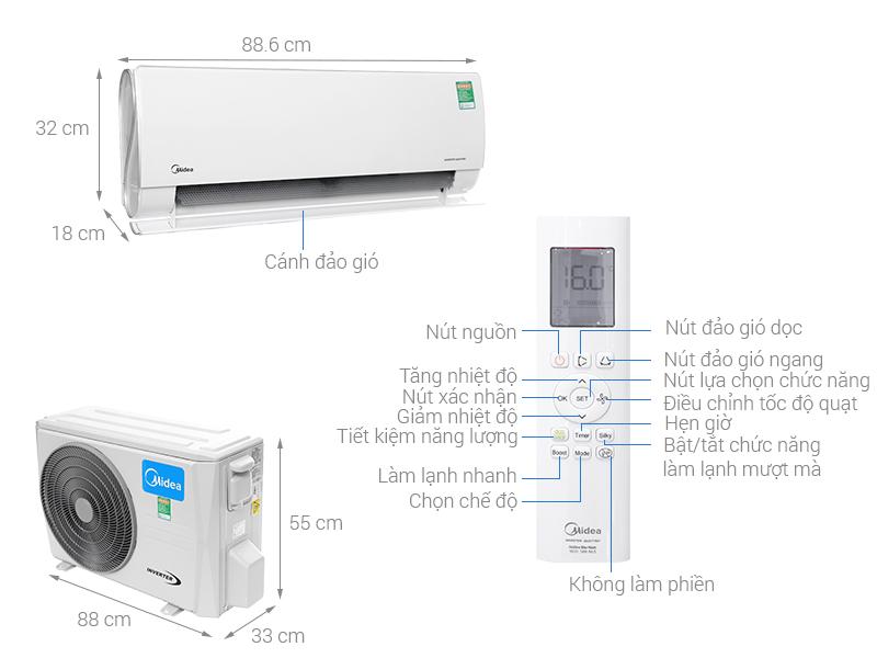 Thông số kỹ thuật Máy lạnh 2 chiều Midea Inverter Wifi 1.5 HP MSMT-13HRFN8