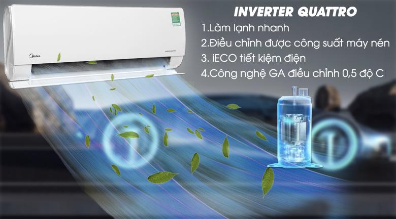 Quattro Inverter - Máy lạnh 2 chiều Midea Inverter 1.5 HP MSMT-13HRFN8