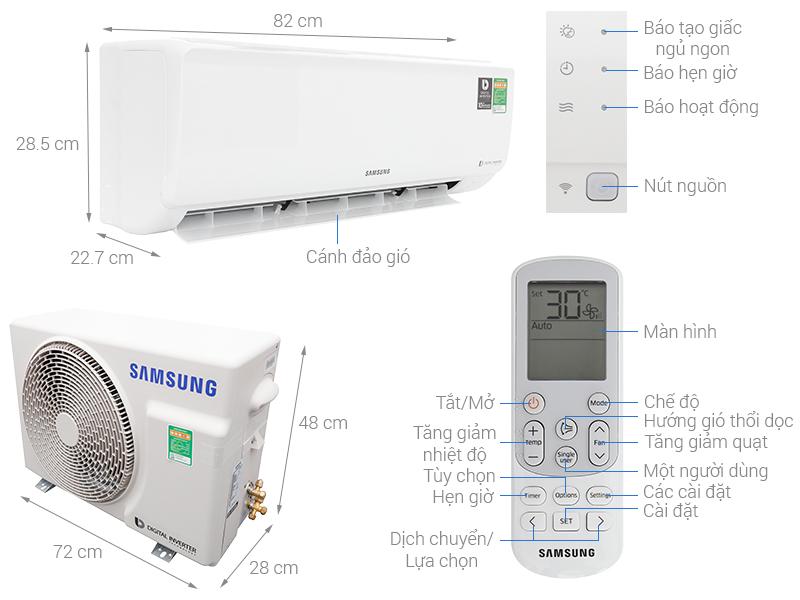 Thông số kỹ thuật Máy lạnh Samsung Inverter 1 HP AR10NVFHGWKNSV