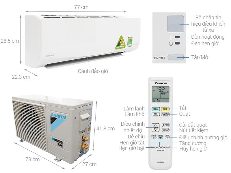Thông số kỹ thuật Máy lạnh Daikin Inverter 1 HP FTKQ25SVMV