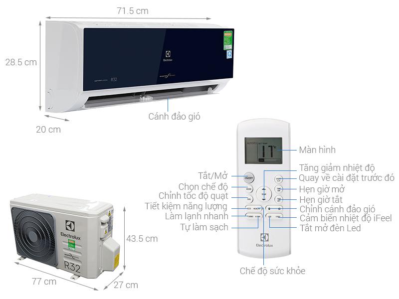 Thông số kỹ thuật Máy lạnh Electrolux Inverter 1 HP ESV09CRO-D1