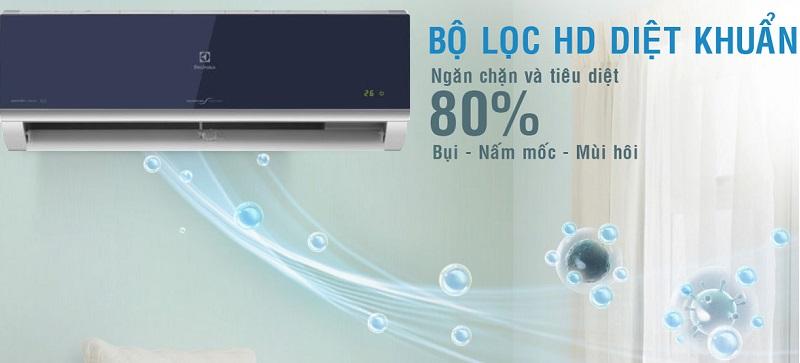 Mang đến bầu không khí trong lành, sạch khuẩn với bộ lọc HD hiện đại