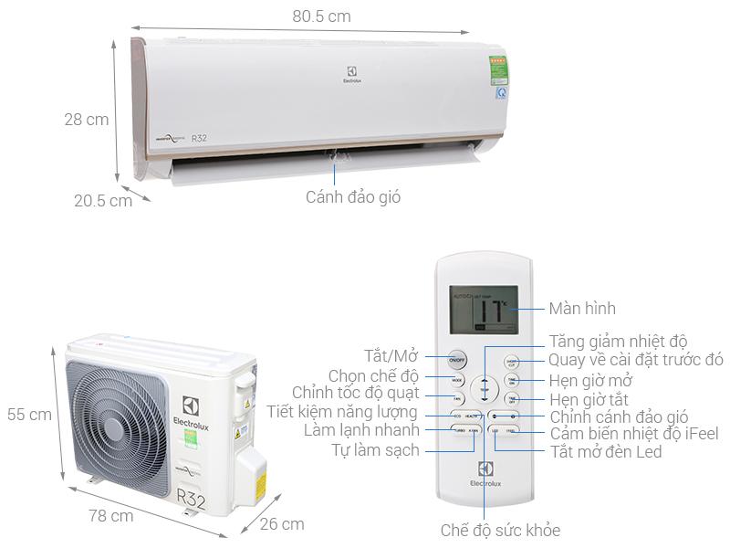 Thông số kỹ thuật Máy lạnh Electrolux Inverter 1.5 HP ESV12CRO-A1