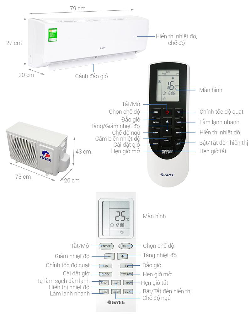 Thông số kỹ thuật Máy lạnh Gree 1 HP GWC09QB-K3NNB2H