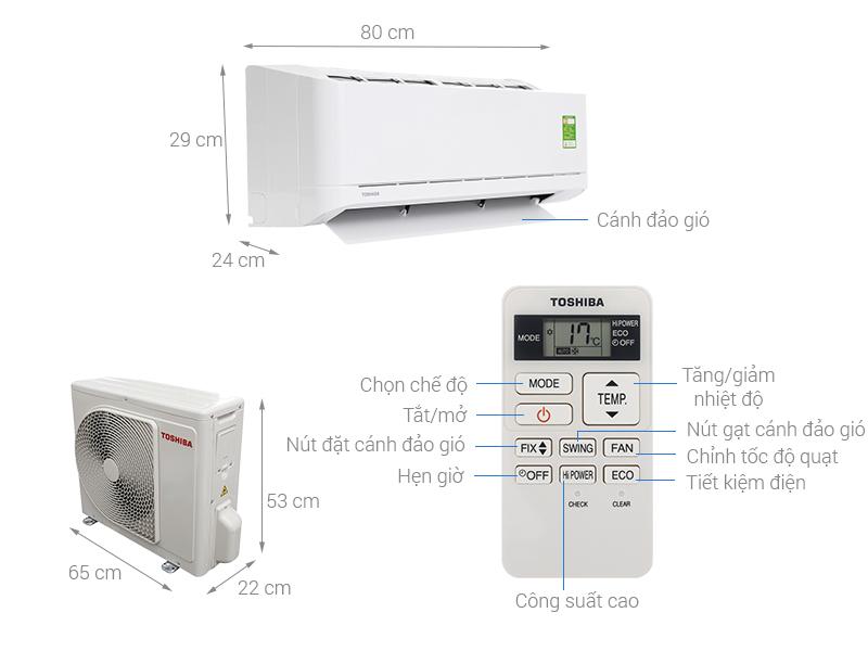 Thông số kỹ thuật Máy lạnh Toshiba 1 HP RAS-H10U2KSG-V