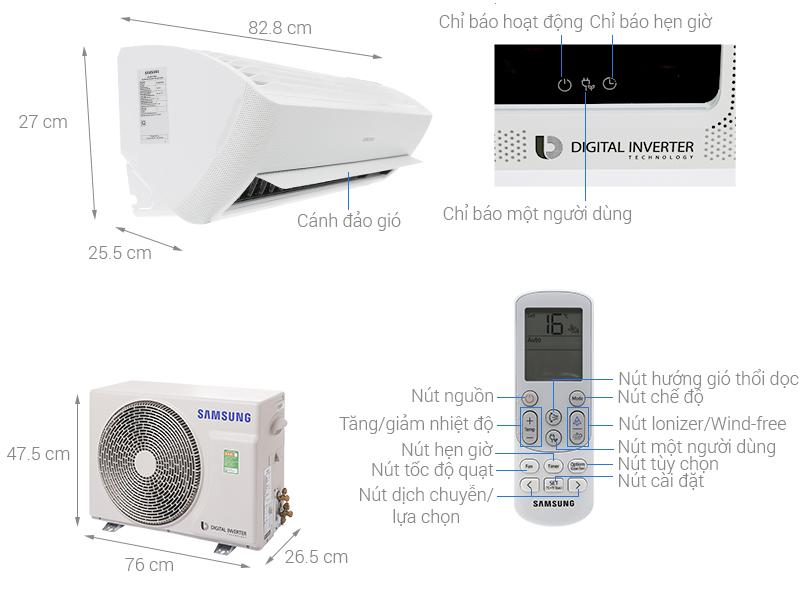 Thông số kỹ thuật Máy lạnh Samsung Inverter 1 HP AR10NVFXAWKNSV