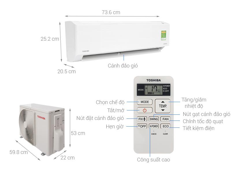 Thông số kỹ thuật Máy lạnh Toshiba Inverter 1 HP RAS-H10DKCVG-V