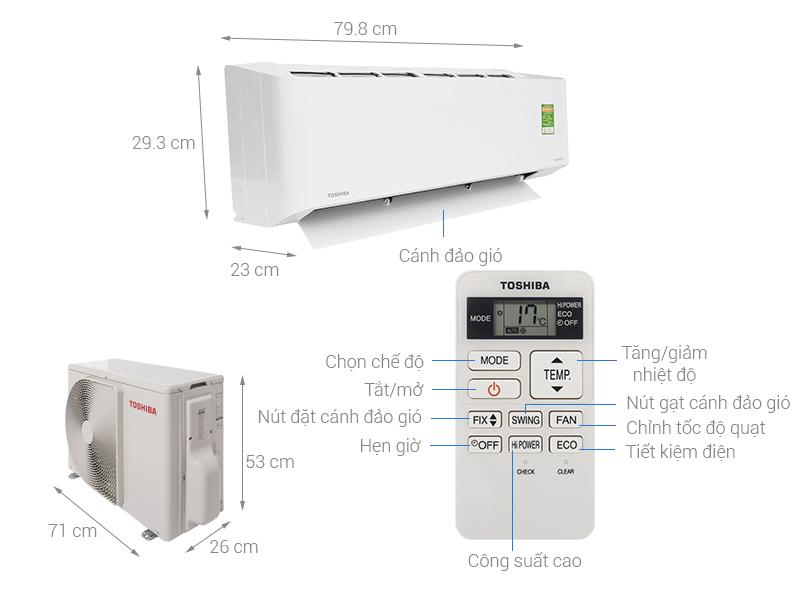 Thông số kỹ thuật Máy lạnh Toshiba Inverter 1.5 HP RAS-H13CKCVG-V
