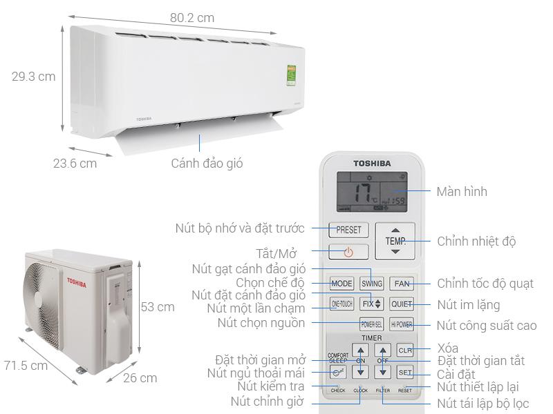Thông số kỹ thuật Máy lạnh Toshiba Inverter 1 HP RAS-H10PKCVG - V