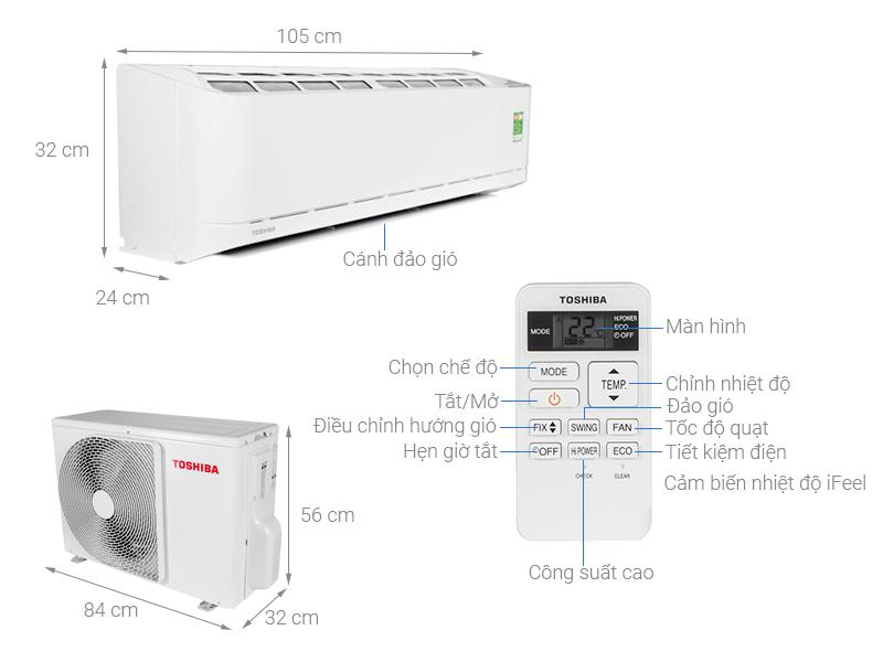 Thông số kỹ thuật Máy lạnh Toshiba 2 HP RAS-H18U2KSG-V