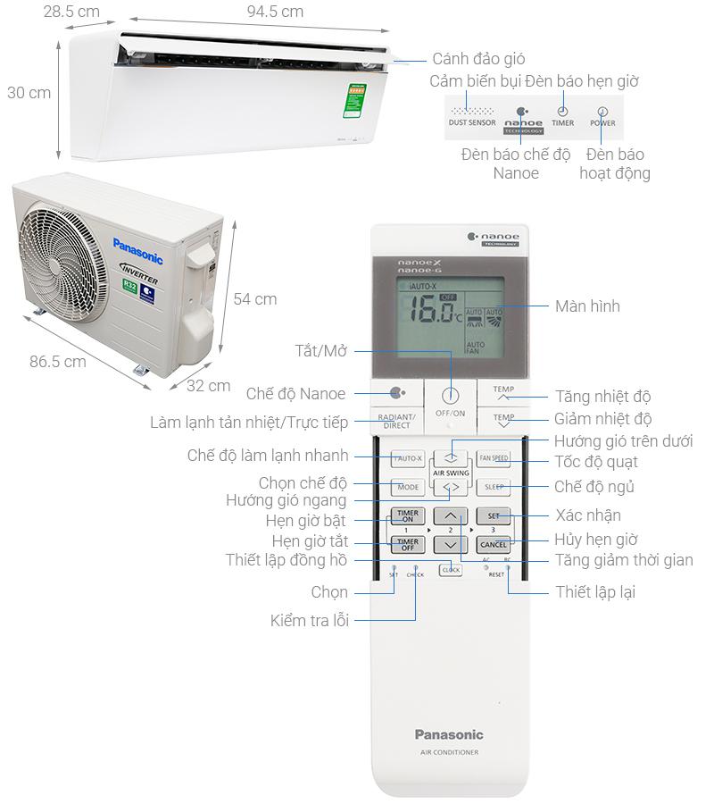 Thông số kỹ thuật Điều hòa Panasonic Inverter 8530 BTU CU/CS-VU9UKH-8