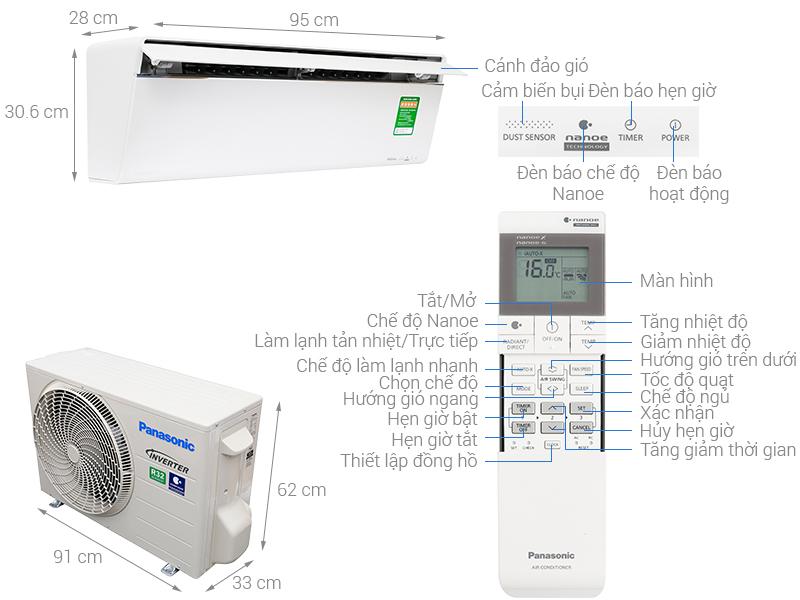 Thông số kỹ thuật Máy lạnh Panasonic Inverter 2 HP CU/CS-VU18UKH-8
