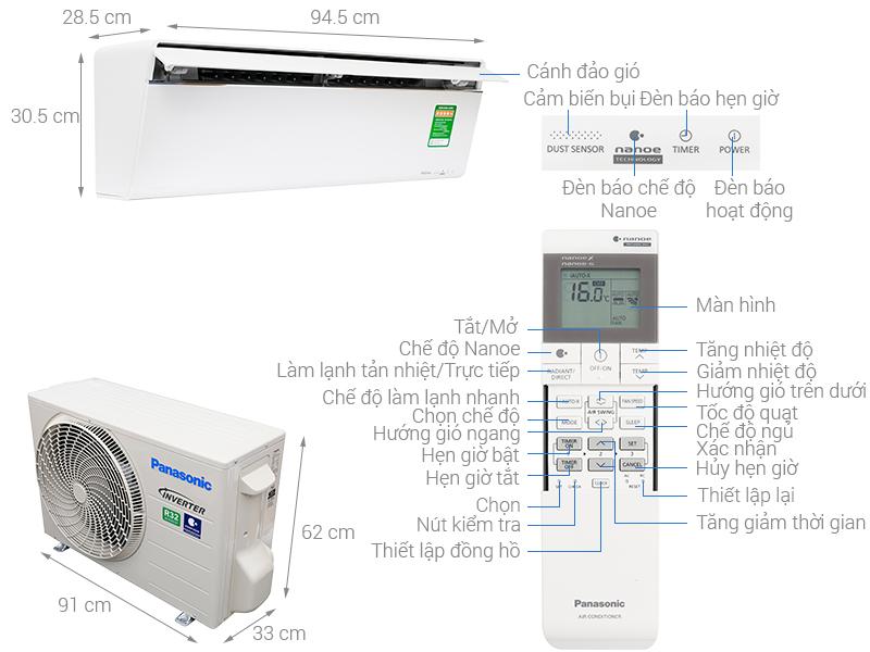 Thông số kỹ thuật Điều hòa Panasonic Inverter 17700 BTU CU/CS-VU18UKH-8