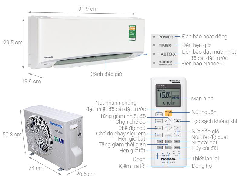 Thông số kỹ thuật Điều hòa Panasonic Inverter 8700 BTU CU/CS-XU9UKH-8