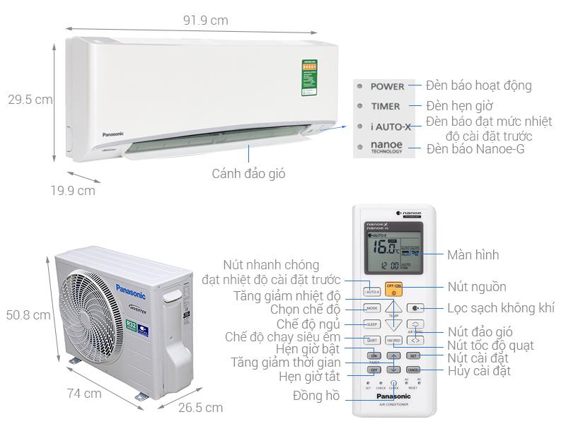 Thông số kỹ thuật Máy lạnh Panasonic Inverter 1 HP CU/CS-XU9UKH-8