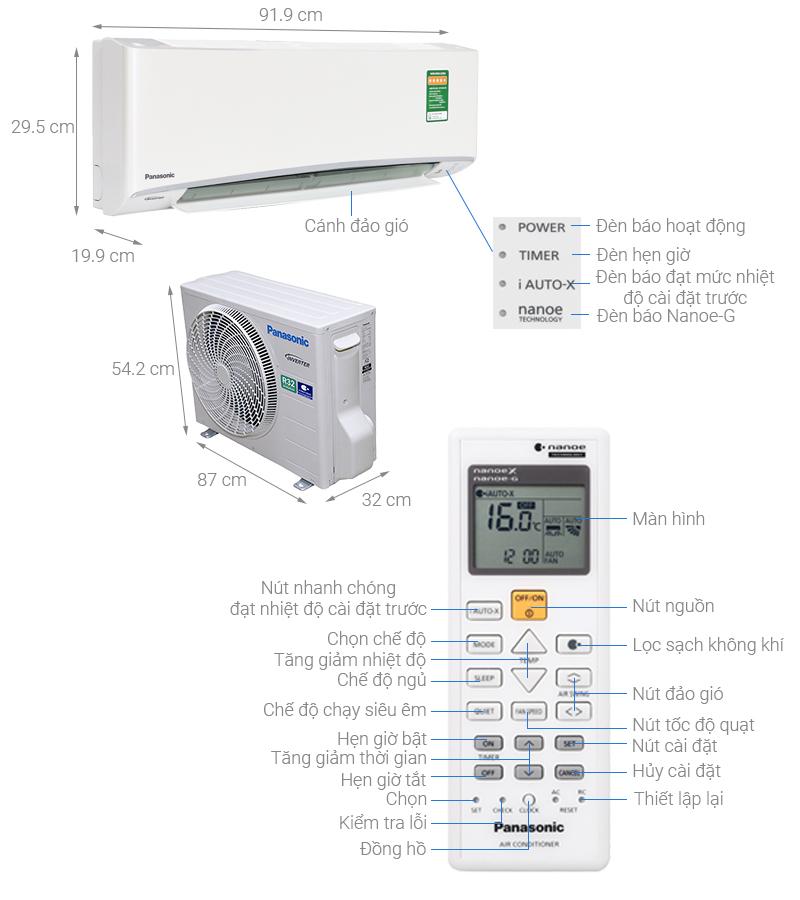 Thông số kỹ thuật Máy lạnh Panasonic Inverter 1.5 HP CU/CS-XU12UKH-8
