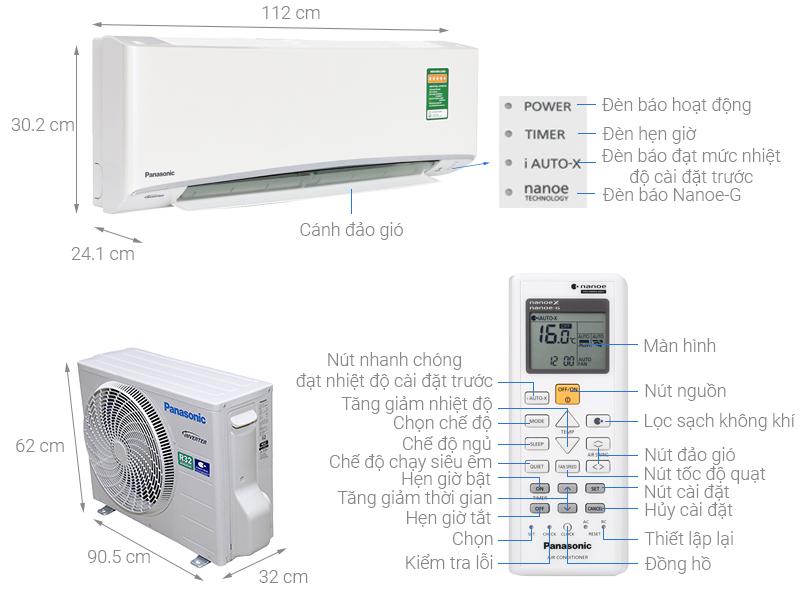 Thông số kỹ thuật Máy lạnh Panasonic Inverter 2 HP CU/CS-XU18UKH-8