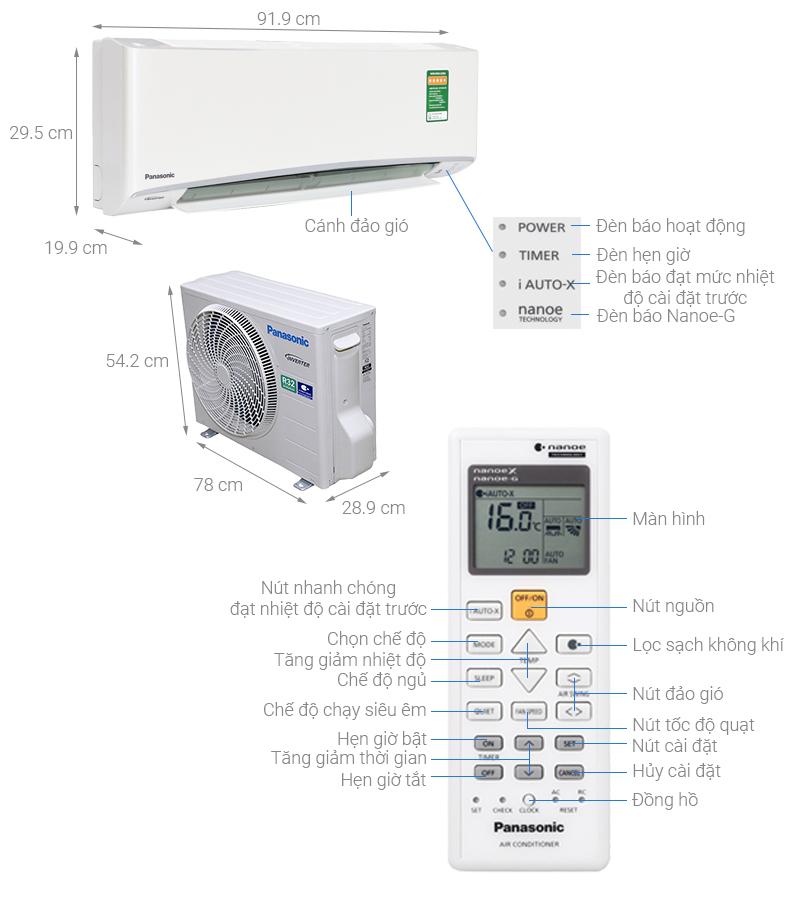 Thông số kỹ thuật Máy lạnh Panasonic Inverter 2.5 HP CU/CS-XU24UKH-8
