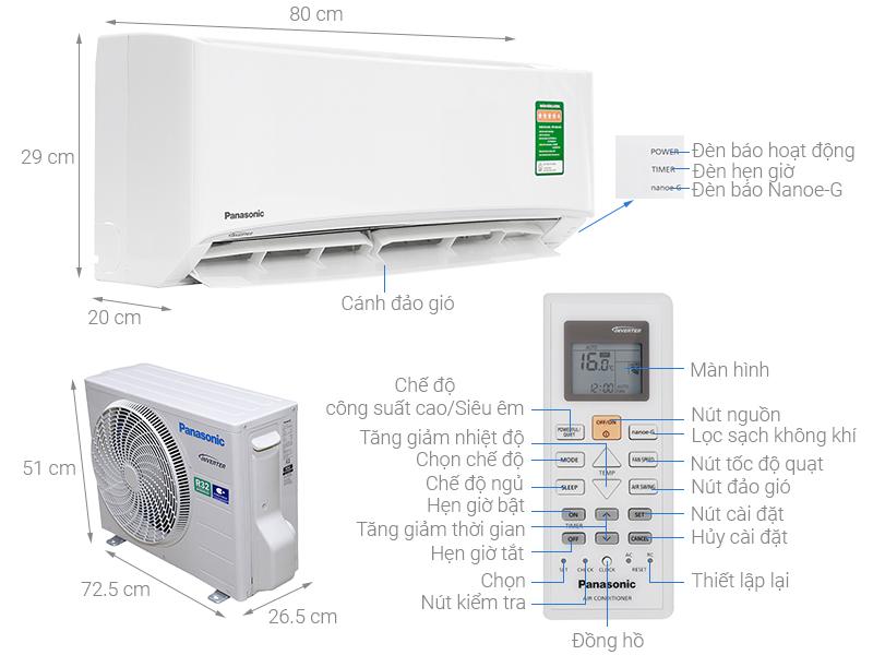 Thông số kỹ thuật Máy lạnh Panasonic Inverter 1 HP CU/CS-PU9UKH-8