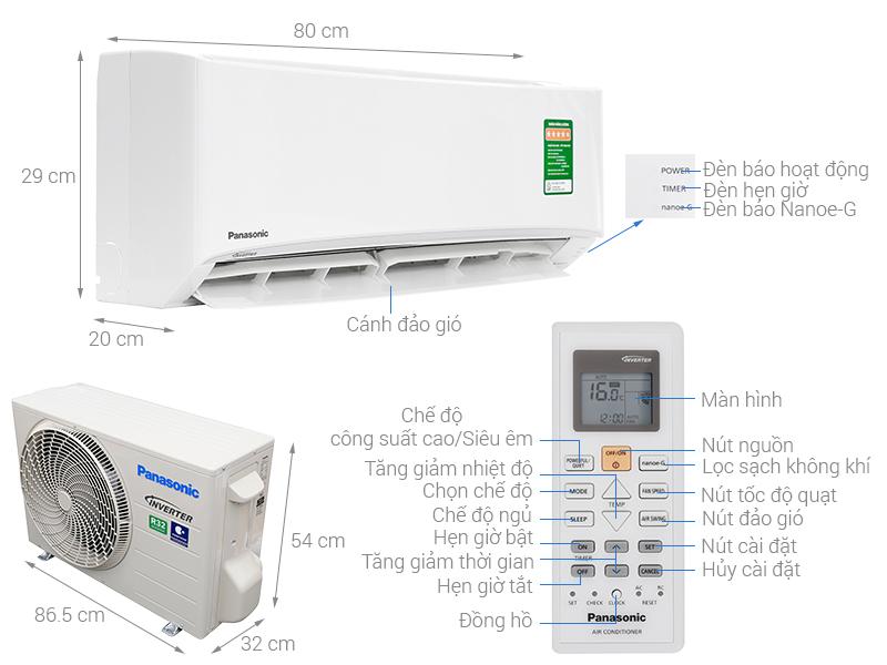 Thông số kỹ thuật Máy lạnh Panasonic Inverter 1.5 HP CU/CS-PU12UKH-8