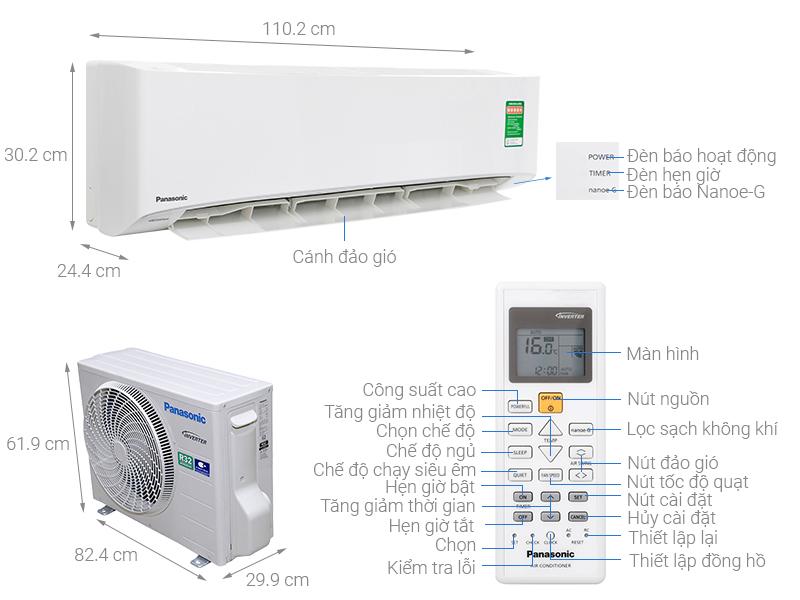 Thông số kỹ thuật Máy lạnh Panasonic Inverter 2.5 HP CU/CS-PU24UKH-8