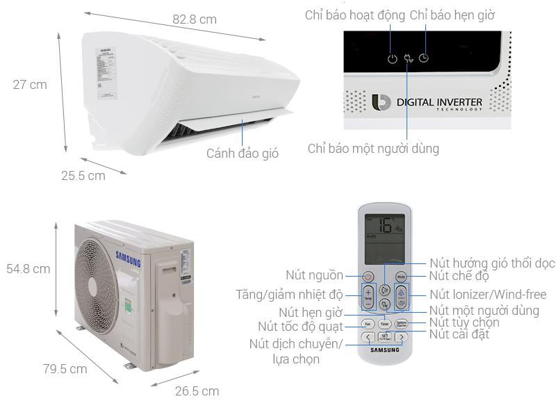 Thông số kỹ thuật Máy lạnh Samsung Inverter 1.5 HP AR13NVFXAWKNSV