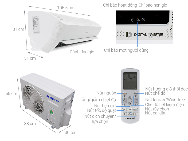 Thông số kỹ thuật Điều hòa Samsung Inverter 18300 BTU AR18NVFXAWKNSV