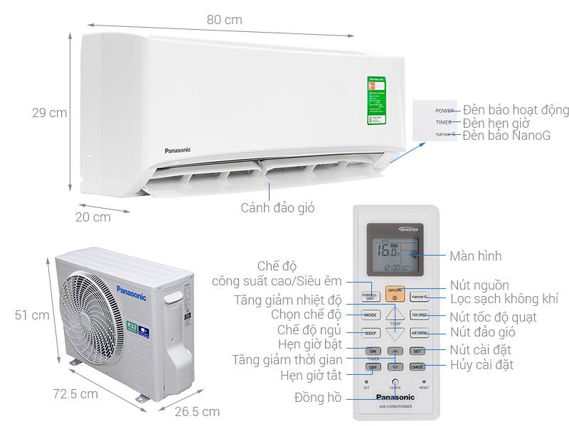 Thông số kỹ thuật Điều hòa Panasonic 9040 BTU CU/CS-N9UKH-8