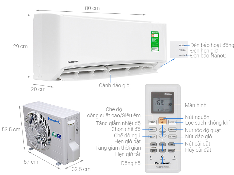 Thông số kỹ thuật Máy lạnh Panasonic 1.5 HP CU/CS-N12UKH-8