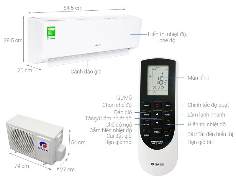 Thông số kỹ thuật Máy lạnh Gree 1.5 HP GWC12QC-K3NNB2H