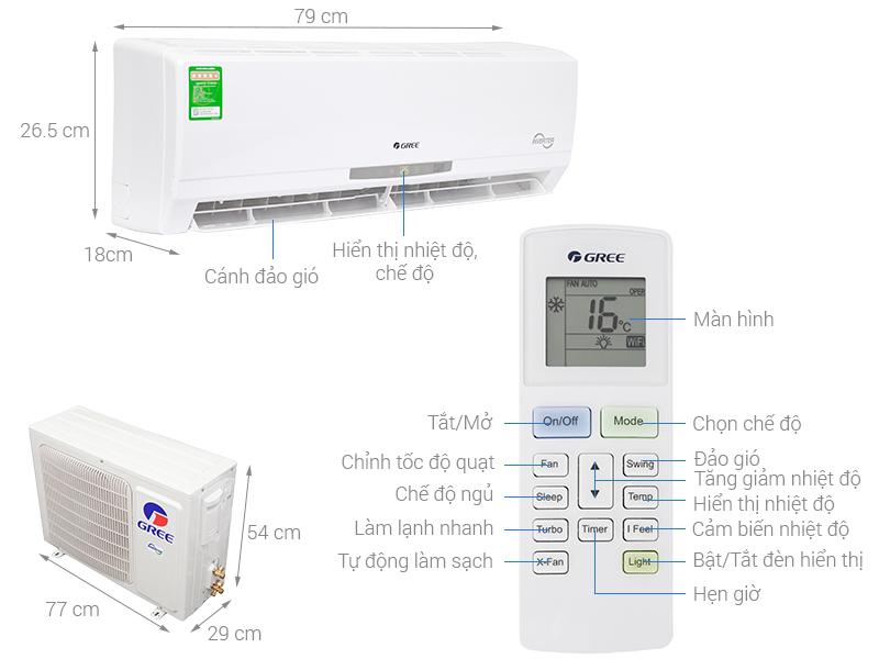 Thông số kỹ thuật Máy lạnh Gree Inverter 1.5 HP GWC12CA-K3DNC2I