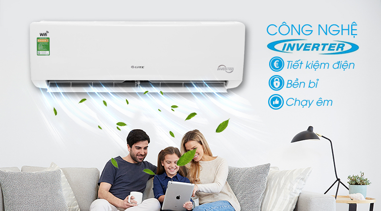 Inverter - Máy lạnh Gree Wifi Inverter 1 HP GWC09BC-K6DNA1B