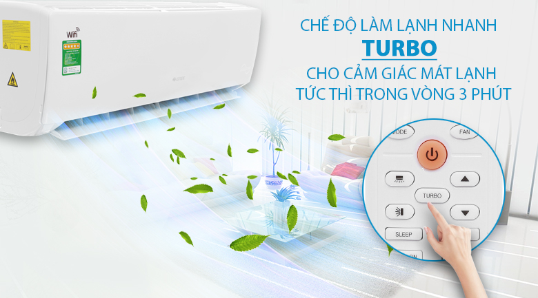 Turbo - Máy lạnh Gree Wifi Inverter 1 HP GWC09BC-K6DNA1B