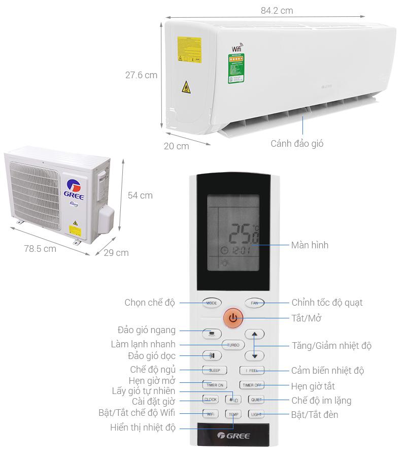 Thông số kỹ thuật Máy lạnh Gree Wifi Inverter 1.5 HP GWC12BC-K6DNA1B