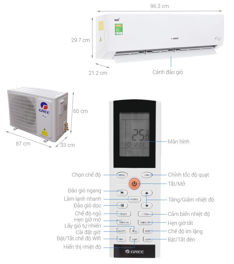 Thông số kỹ thuật Máy lạnh Gree Wifi Inverter 2 HP GWC18BD-K6DNA1B