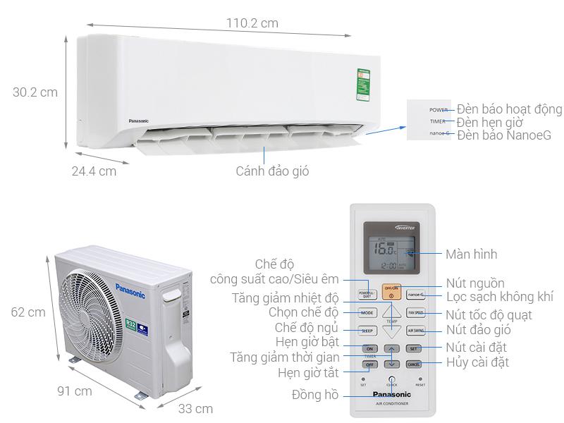 Thông số kỹ thuật Máy lạnh Panasonic 2 HP CU/CS-N18UKH-8