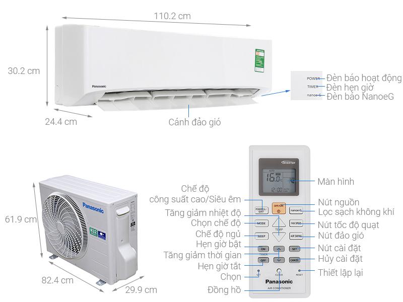 Thông số kỹ thuật Máy lạnh Panasonic 2.5 HP CU/CS-N24UKH-8