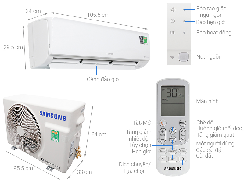 Thông số kỹ thuật Máy lạnh Samsung Inverter 2.5 HP AR24NVFHGWKNSV