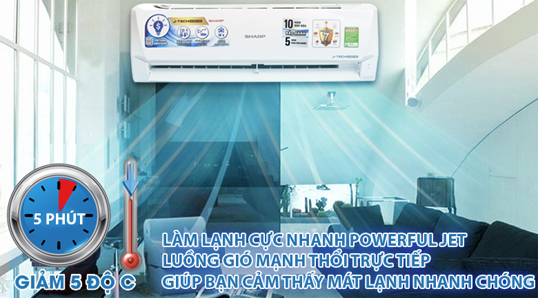 Powerful Jet - Máy lạnh Sharp Inverter 1 HP AH-X9VEW