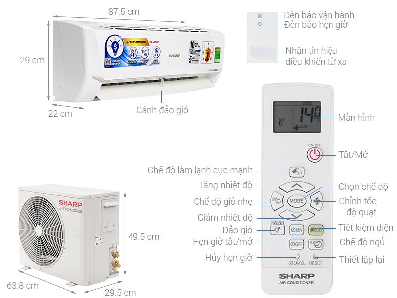 Thông số kỹ thuật Máy lạnh Sharp Inverter 1.5 HP AH-X12VEW