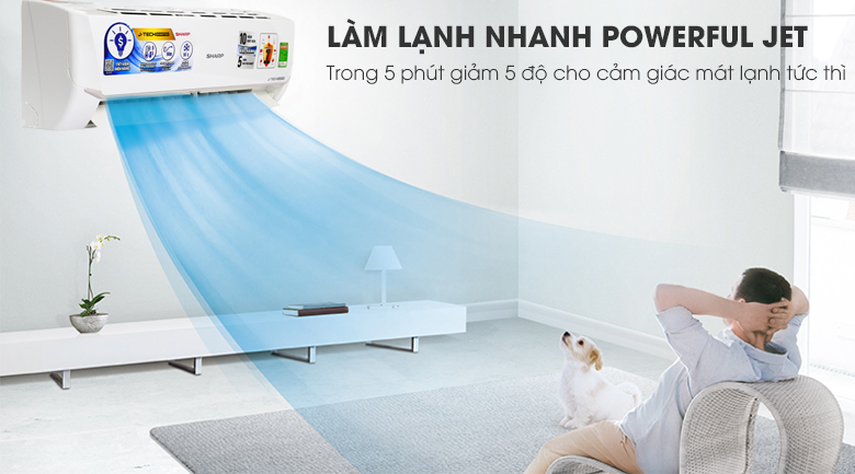 Powerful Jet - Máy lạnh Sharp Inverter 1.5 HP AH-X12VEW