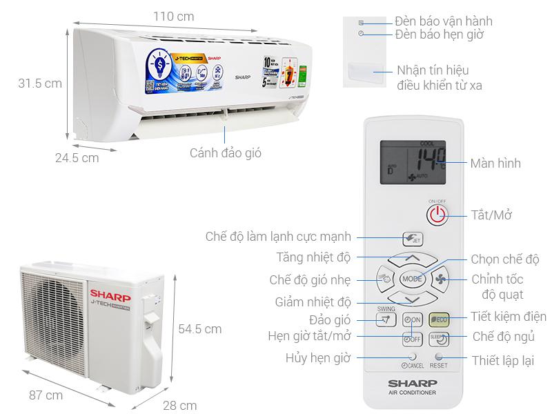 Thông số kỹ thuật Máy lạnh Sharp Inverter 2 HP AH-X18VEW