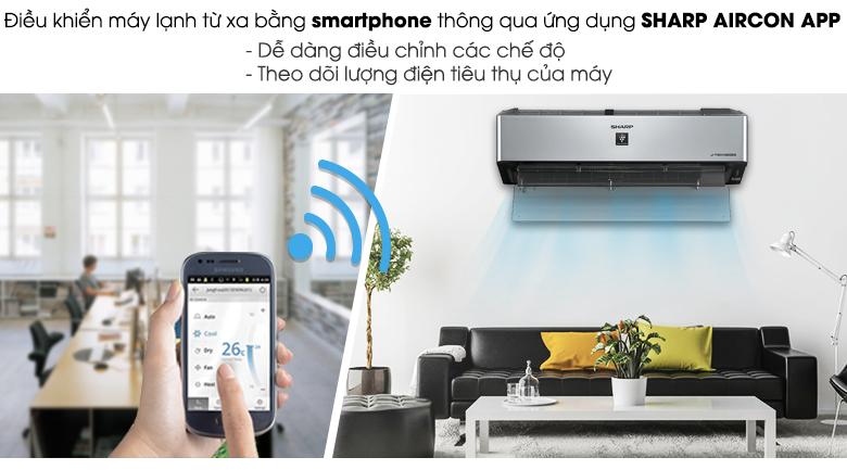 Điều khiển từ xa bằng - Máy lạnh Sharp Inverter Wifi 1 HP AH-XP10VXW