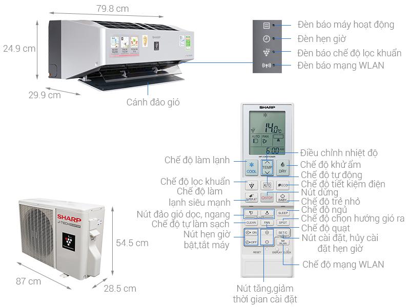 Thông số kỹ thuật Máy lạnh Sharp Inverter Wifi 1.5 HP AH-XP13VXW