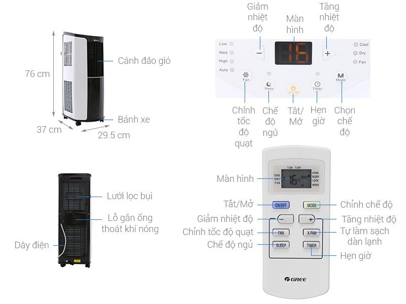 Thông số kỹ thuật Máy lạnh di động mini Gree 1 HP GPC09AK-K6NNA1A