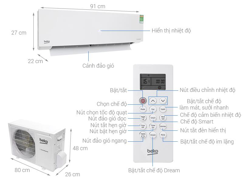 Thông số kỹ thuật Máy lạnh Beko Inverter 1 HP RSVC10BV