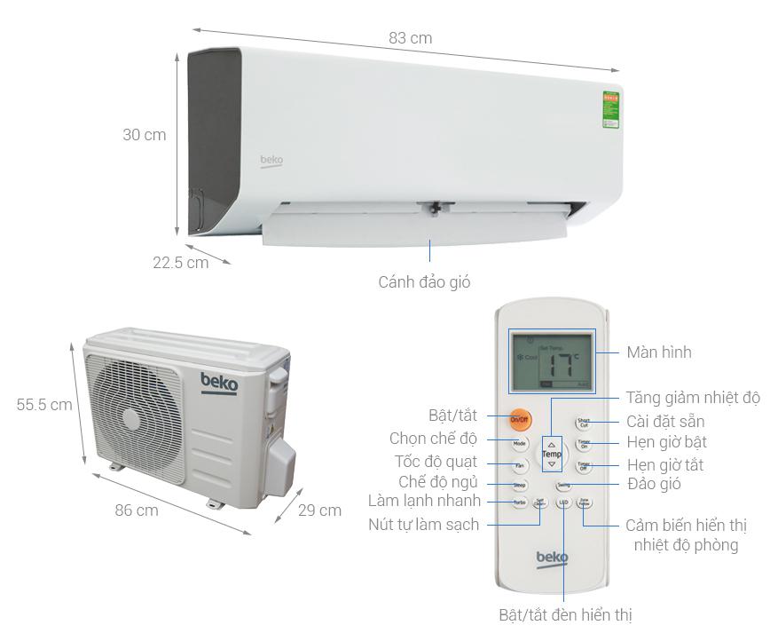 Thông số kỹ thuật Máy lạnh Beko 1 HP RSSC09CV