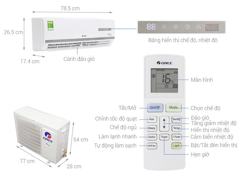 Thông số kỹ thuật Máy lạnh Gree Inverter 1.5 HP GWC12WA-K3DNB7I