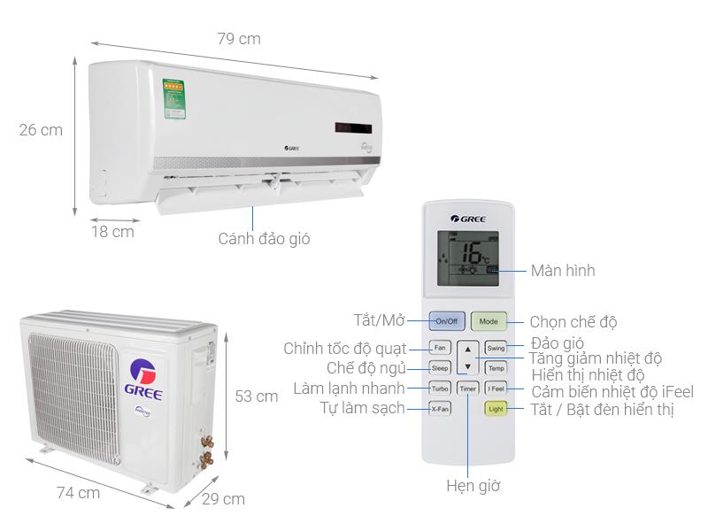 Thông số kỹ thuật Máy lạnh 2 chiều Gree Inverter 1 HP GWH09WA-K3DNB7L