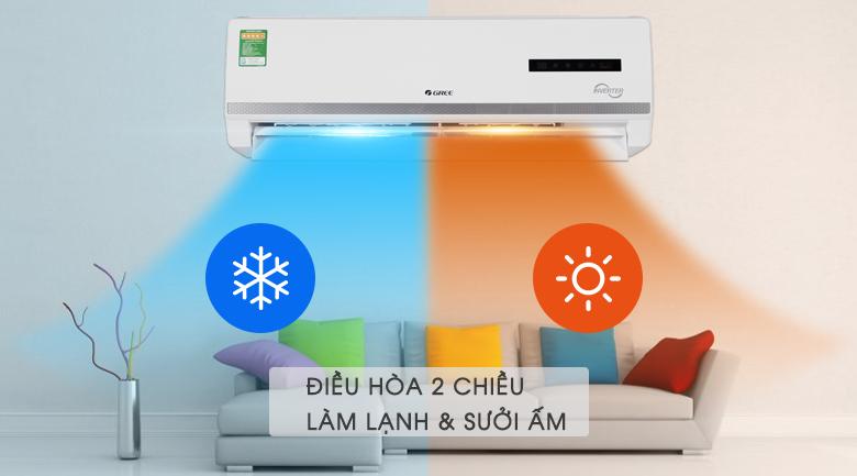 Chức năng sưởi ấm - Máy lạnh 2 chiều Gree Inverter 1 HP GWH09WA-K3DNB7L